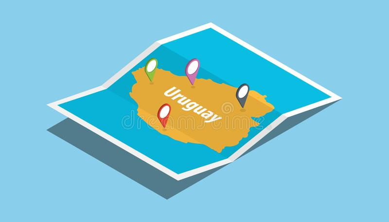 Urugwaj bada mapy z isometric stylu i szpilki lokaci etykietką na wierzchołku royalty ilustracja