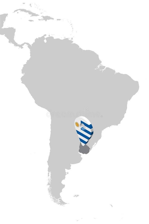 Urugwaj lokacji mapa na mapie Ameryka Południowa 3d Urugwaj flagi mapy markiera lokacji szpilka Wysokiej jako?ci mapa Urugwaj ilustracja wektor