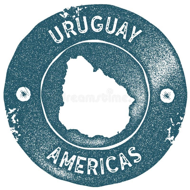 Urugwaj mapy rocznika znaczek royalty ilustracja