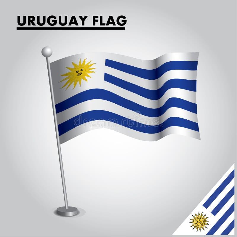 URUGWAJ zaznacza flagę państowową URUGWAJ na słupie ilustracja wektor