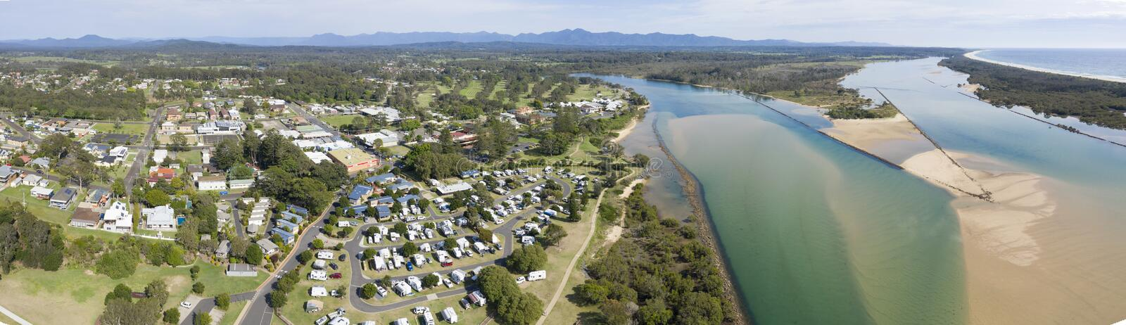 Urunga, New South Wales, Australia,. Urunga NSW where the Bellinger and Kalang rivers meet and empty into the pacific ocean stock images