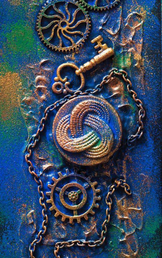 Urverk för hjul för kuggar för handgjord steampunkbakgrund mekaniskt fotografering för bildbyråer