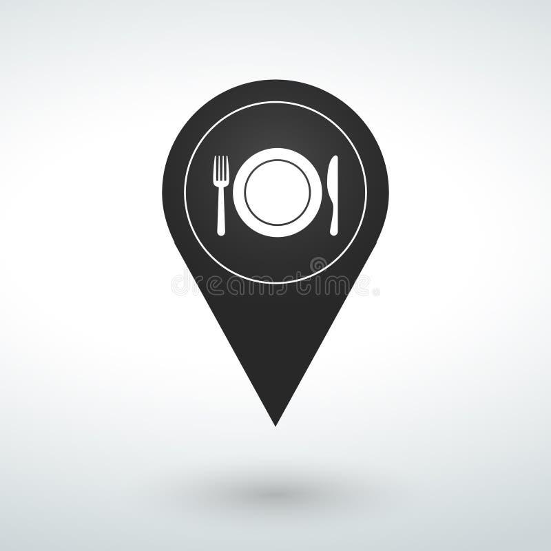 urządzenia dla karmowej ikony mapy szpilki na białym tle fotografia stock