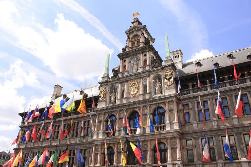 Urząd miasta, Grote Markt Wielki Targowy kwadrat, Antwerp, Belgia zdjęcie stock