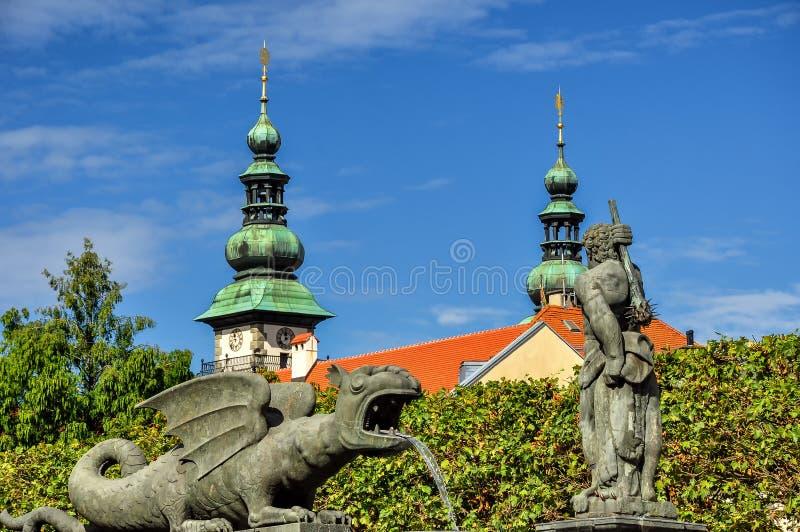 Urząd miasta i smoka zabytek w Klagenfurt obraz royalty free
