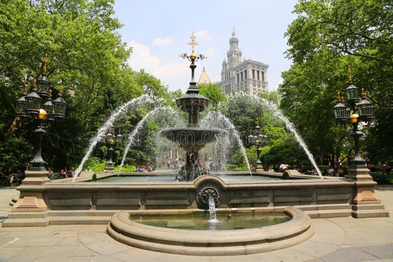 Urząd Miasta Parkowa fontanna w Manhattan obraz royalty free