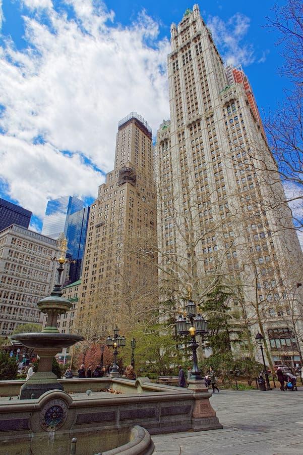 Urząd Miasta Parkowa fontanna w Manhattan fotografia stock