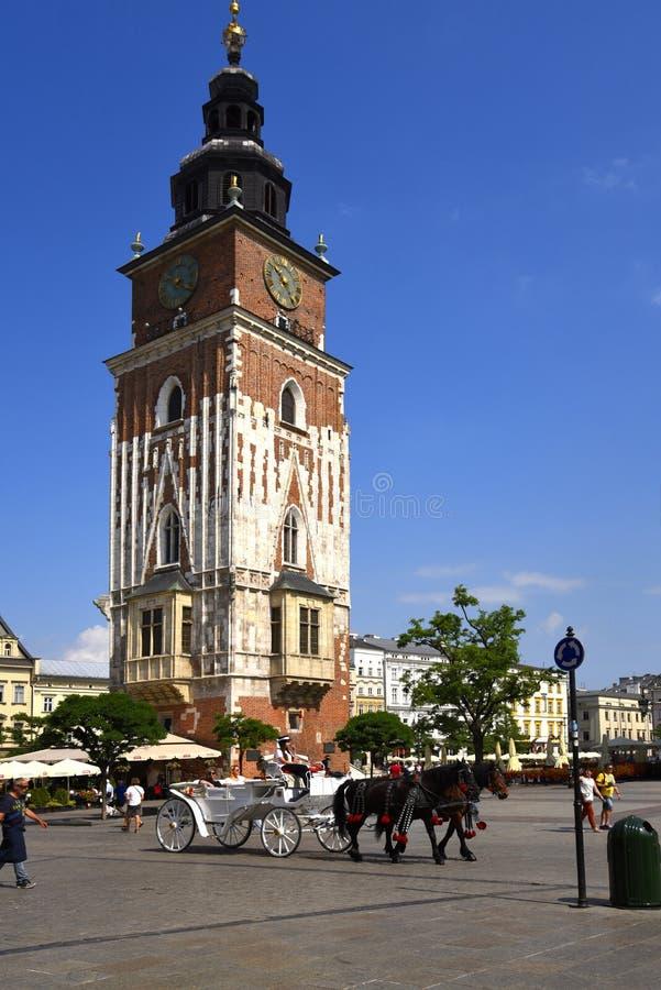Urząd miasta wierza i Sukienny Hall w Targowym kwadracie w Krakow, Krakow nieoficjalny kulturalny kapitał Polska obrazy stock