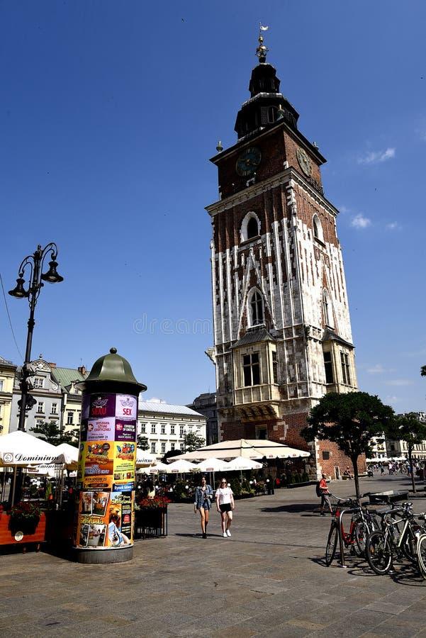 Urząd Miasta wierza w Targowym kwadracie w Krakow, Krakow nieoficjalny kulturalny kapitał Polska zdjęcie royalty free