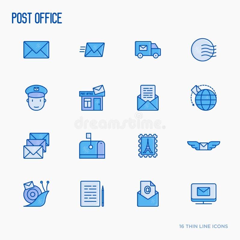 Urząd pocztowy cienkie kreskowe ikony ilustracji