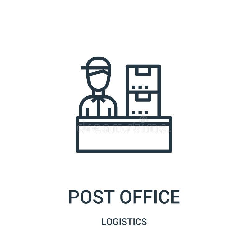 urząd pocztowy ikony wektor od logistyki kolekcji Cienka kreskowa urzędu pocztowego konturu ikony wektoru ilustracja Liniowy symb royalty ilustracja