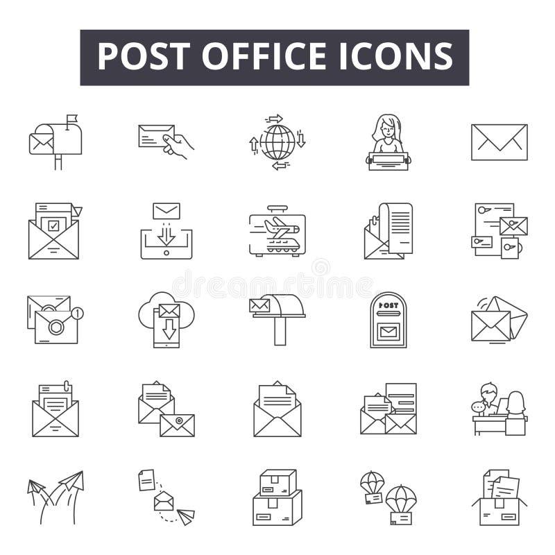 Urząd pocztowy kreskowe ikony, znaki, wektoru set, kontur ilustracji pojęcie ilustracji