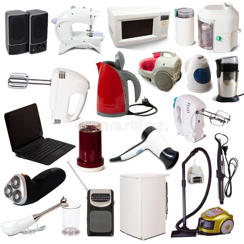 urządzeń gospodarstwa domowego odosobniony ustalony biel zdjęcia stock