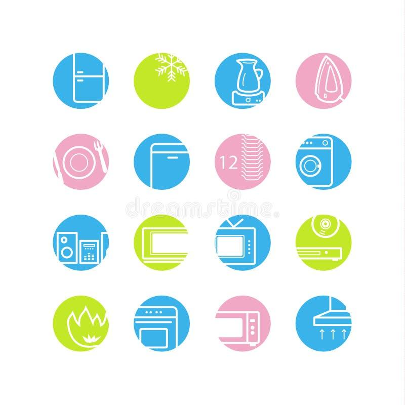 urządzeń okręgu gospodarstwa domowego ikon wiosna ilustracja wektor