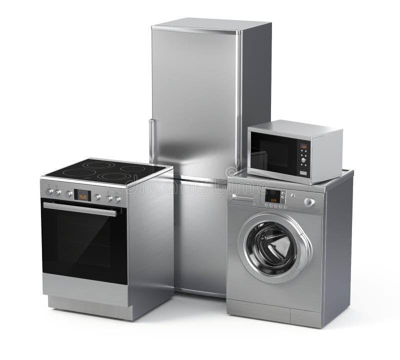 urządzeń projekta domu ikon kuchenny set twój Chłodziarka, pralka, elektryczna kuchenka i mikrofala, ilustracji