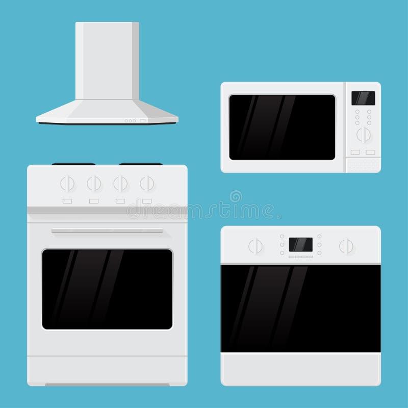 urządzeń projekta domu ikon kuchenny set twój Płaski projekt Kuchenny pasmo, piekarnik, mikrofala piekarnik i lotnicza wentylacja ilustracja wektor