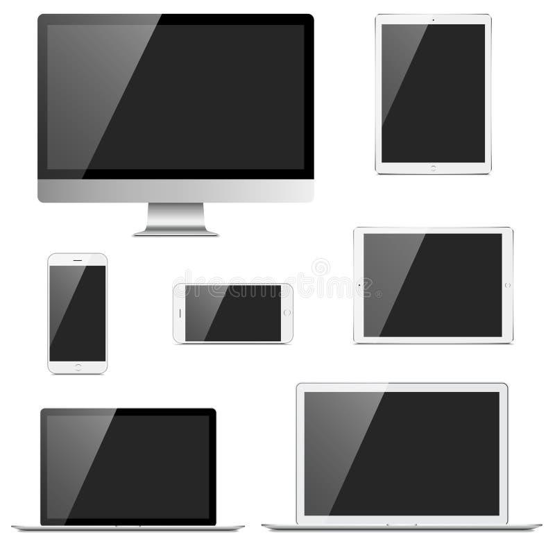 Urządzenia elektroniczne ustawiający ilustracja wektor