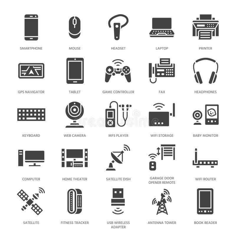 Urządzenie bezprzewodowe glifu płaskie ikony Wifi połączenie z internetem technologii znaki Router, komputer, smartphone, pastylk royalty ilustracja
