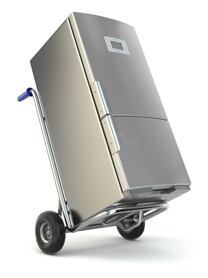 Urządzenie dostawa Ręki fridge i ciężarówka royalty ilustracja