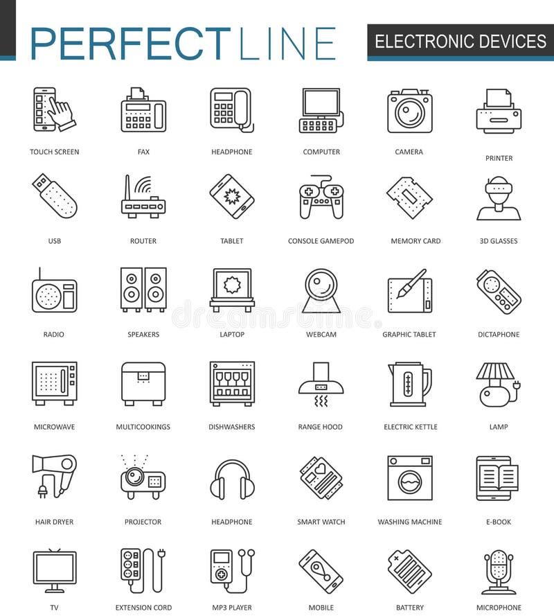 Urządzenie elektroniczne sieci cienkie kreskowe ikony ustawiać Gadżetów przyrządów konturu uderzenia ikon projekt ilustracji