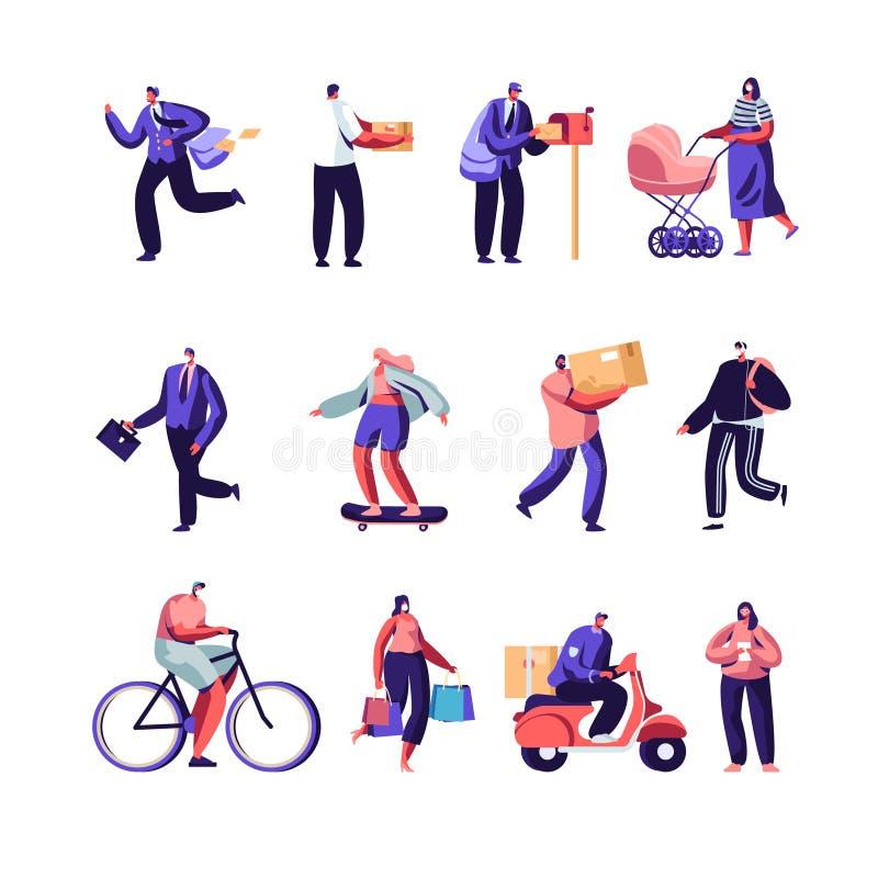 Urzędów Pocztowych pracownicy Wysyła pakuneczki i pocztę, ludzie w Zanieczyszczającym mieście Jest ubranym twarzy maski Ustawiać  ilustracja wektor