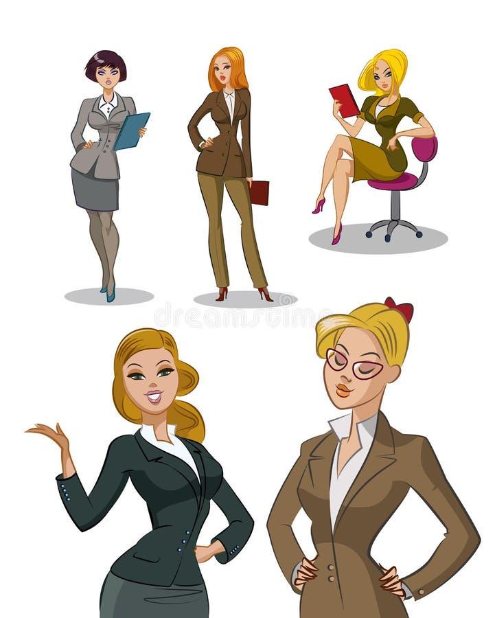 urzędnicy młodzi kobieta jednostek gospodarczych Kobieta set ilustracja wektor