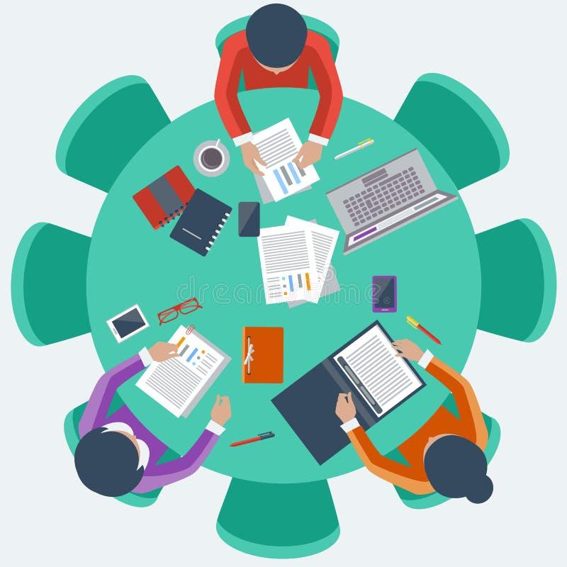 Urzędnicy na spotkaniu i brainstorming ilustracji