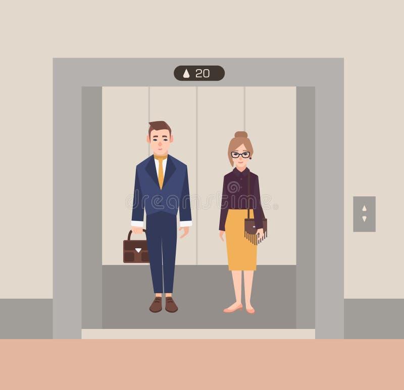 Urzędnicy stoi w otwartej windzie biznesowej skrzynka śmieszni mężczyzna ludzie schodków kobiety Płaska kreskówka wektoru ilustra royalty ilustracja