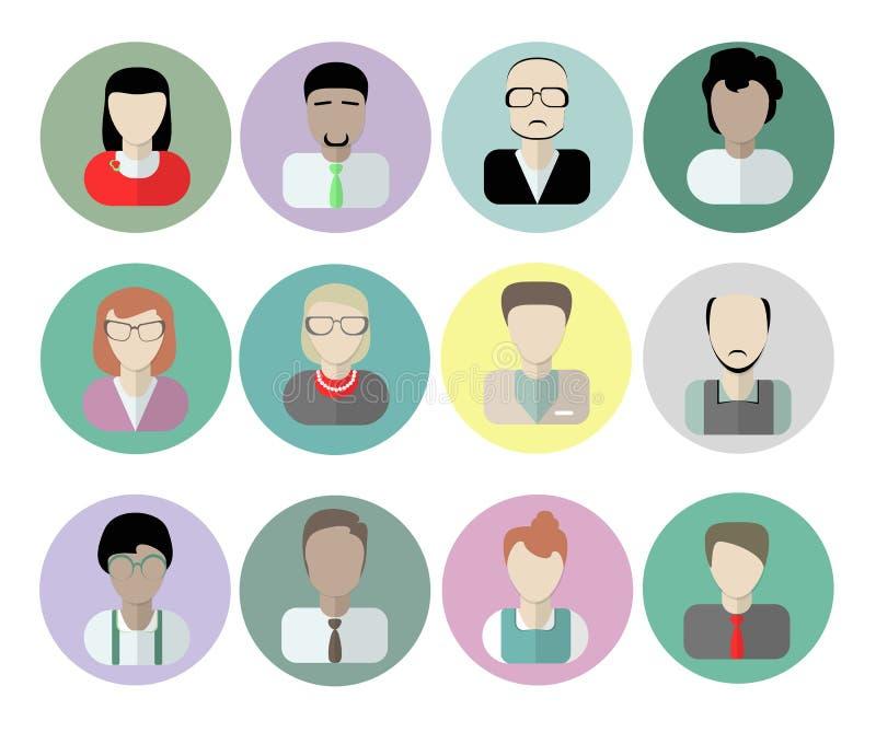 Urzędników avatars na bielu ilustracji