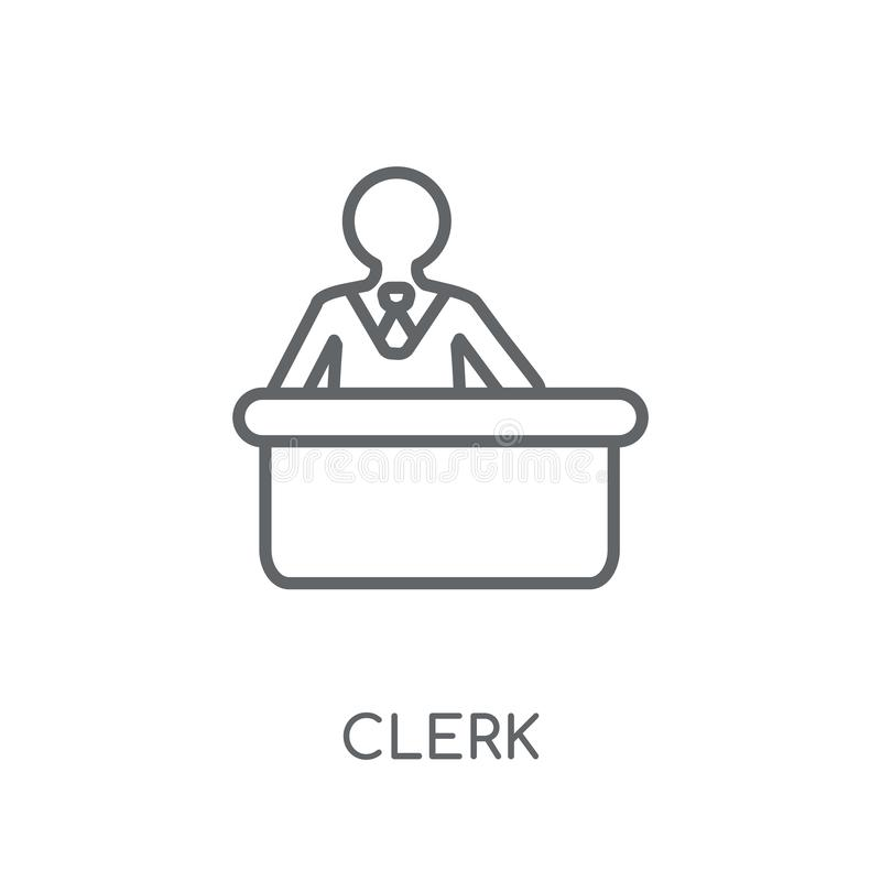 Urzędnik liniowa ikona Nowożytny konturu urzędnika logo pojęcie na białych półdupkach ilustracja wektor