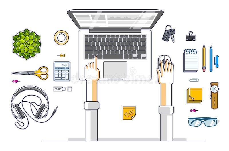 Urzędnik lub przedsiębiorca pracuje na laptopie, wierzchołek ilustracji