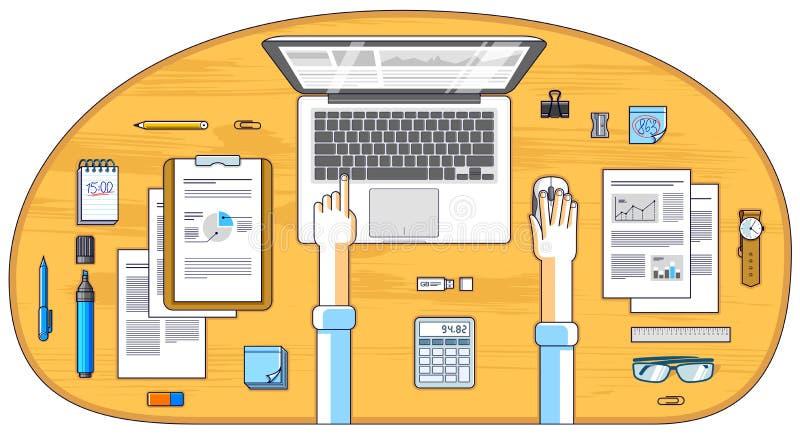 Urzędnik lub przedsiębiorca pracuje na laptopie, wierzchołek royalty ilustracja