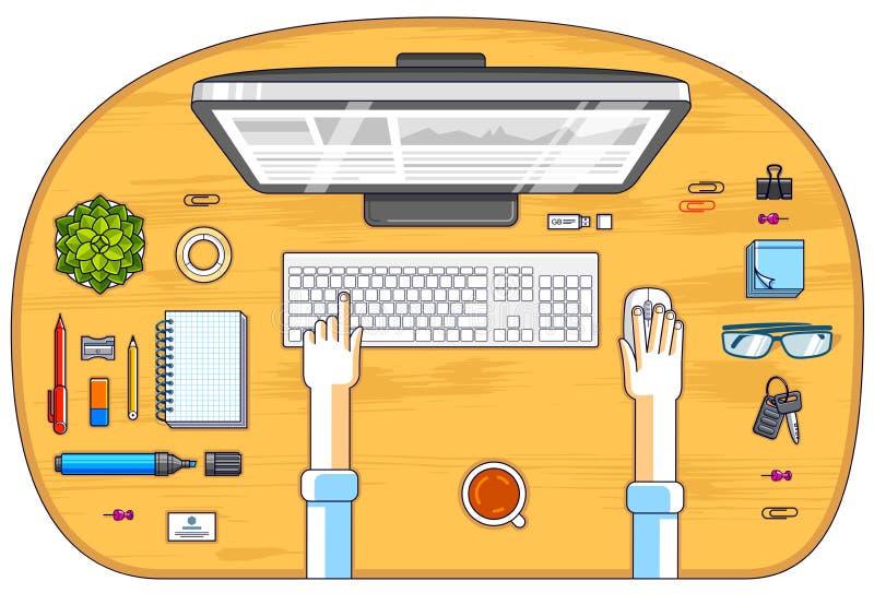 Urzędnik lub przedsiębiorca pracuje na peceta komputerze, odgórny widok ilustracji