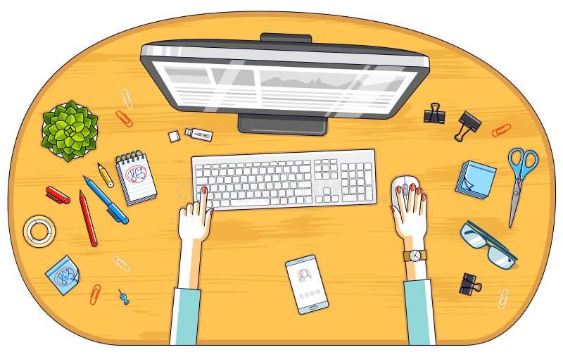 Urzędnik lub przedsiębiorca pracuje na peceta komputerze, odgórny widok royalty ilustracja
