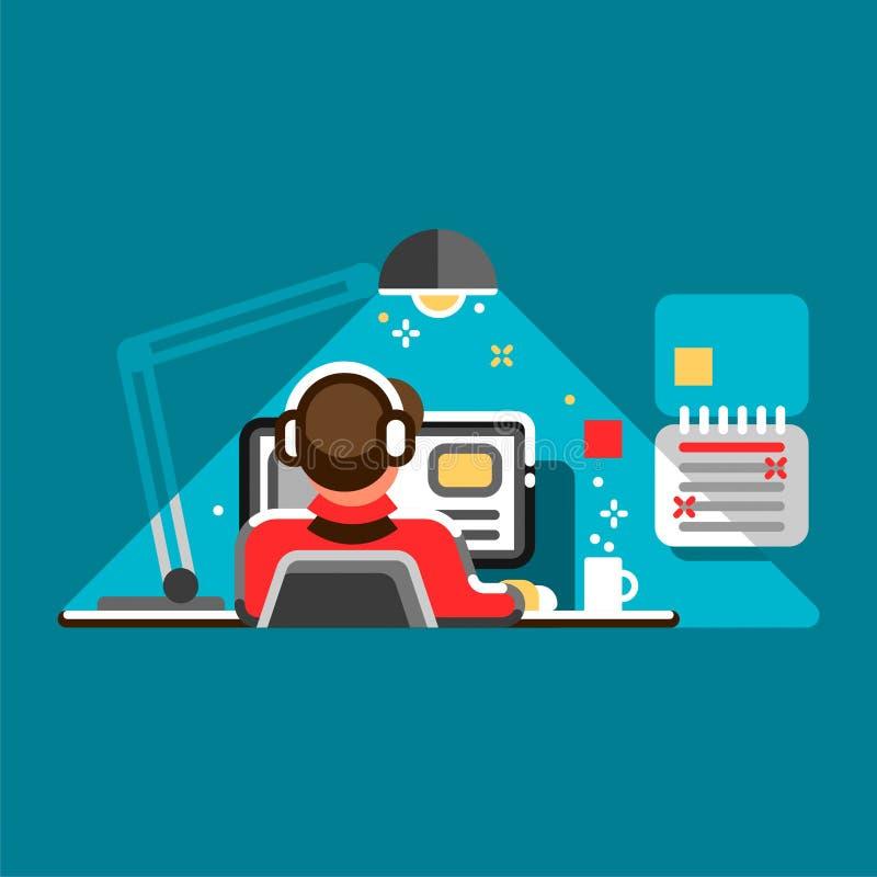 Urzędnik przy jego biurkiem Chłodno wektorowa płaska projekt ilustracja z mężczyzna pracuje na komputerze stacjonarnym ilustracji