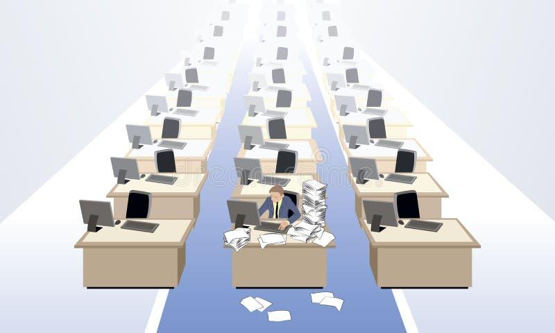 Urzędnik przy pustym biurem ilustracja wektor