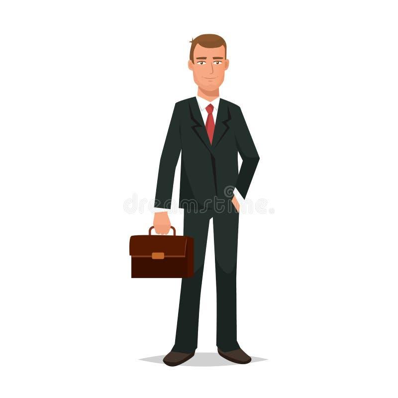 Urzędnik, w surowym garniturze z teczką w rękach, ilustracja wektor