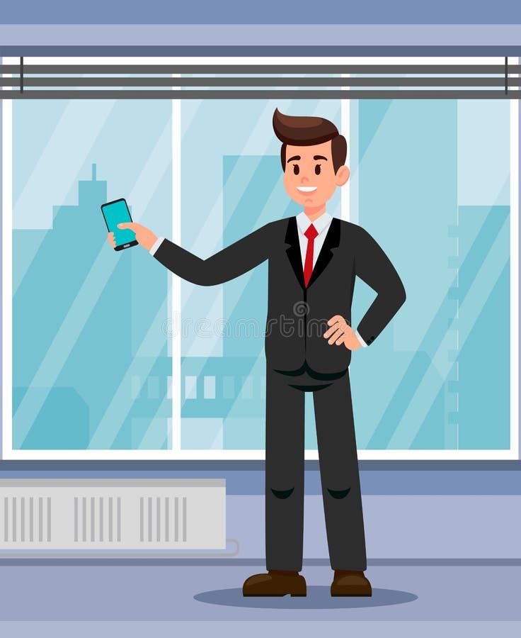 Urzędnik z Smartphone mieszkania ilustracją ilustracja wektor