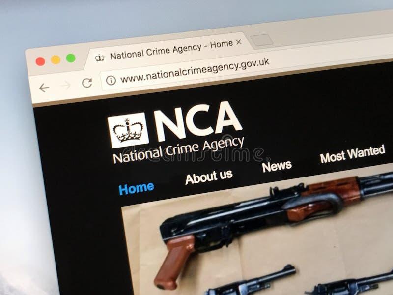 Urzędnika homepage Krajowa przestępstwo agencja - NCA obrazy stock