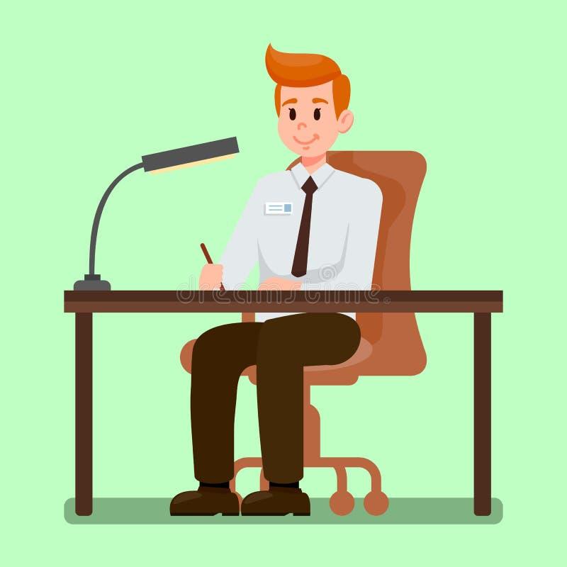 Urzędnika obsiadanie przy biurko wektoru ilustracją ilustracji