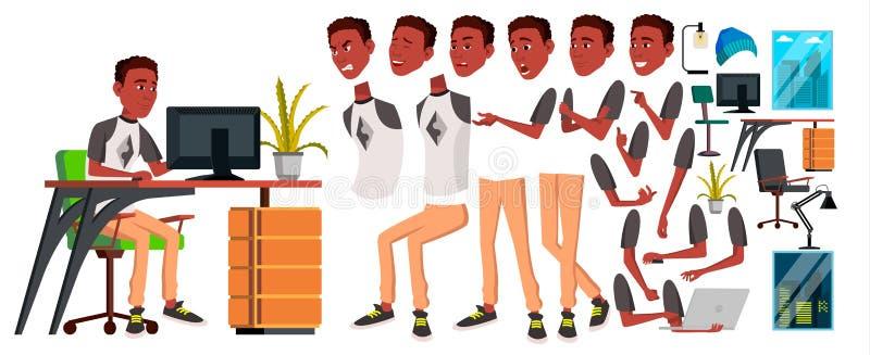 Urzędnika wektor Animaci tworzenia set czerń afrykanin Emocje, gesty Animowani elementy Biurowy generator royalty ilustracja