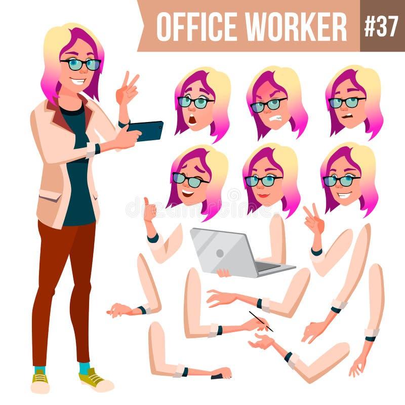 Urzędnika wektor Kobieta Fachowy oficer, urzędnik Biznesmen kobieta Damy twarzy emocje, Różnorodni gesty ilustracji