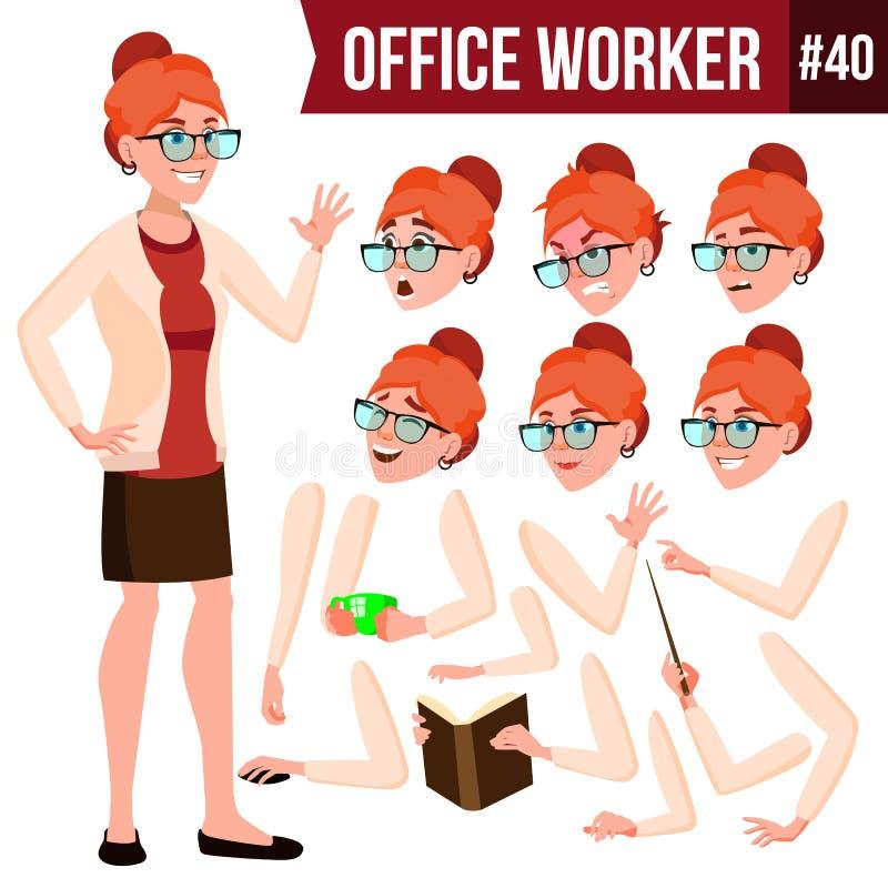 Urzędnika wektor Kobieta Nowożytny pracownik, Laborer kobieta jednostek gospodarczych Emocje, gesty Animaci tworzenia set mieszka royalty ilustracja