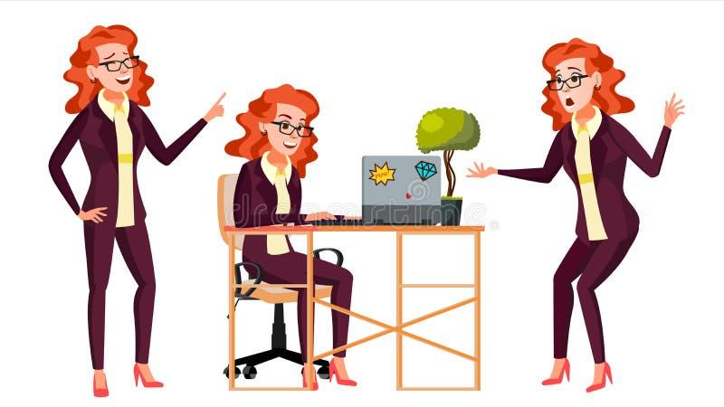 Urzędnika wektor Kobieta Pomyślny oficer, urzędnik, sługa Dorosła biznesowa kobieta Twarzy emocje, Różnorodni gesty royalty ilustracja