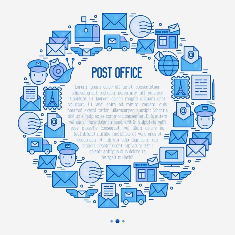 Urzędu pocztowego pojęcie w okręgu z cienkimi kreskowymi ikonami royalty ilustracja
