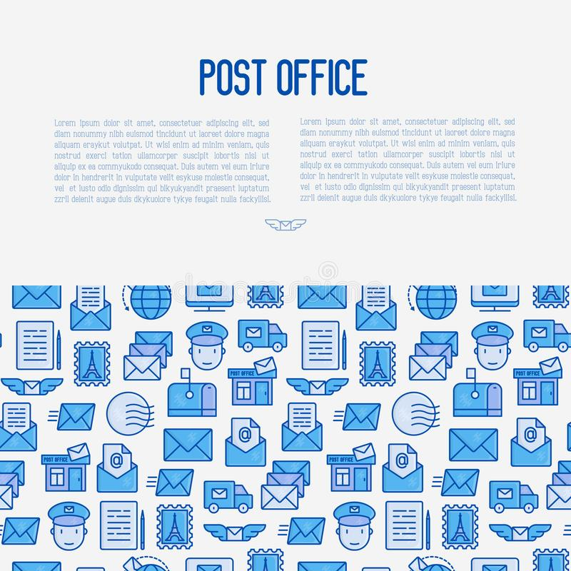 Urzędu pocztowego pojęcie z cienkimi kreskowymi ikonami ilustracji