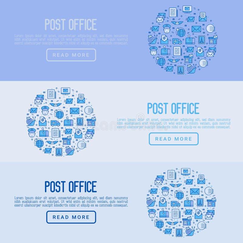 Urzędu pocztowego pojęcie z cienkimi kreskowymi ikonami ilustracja wektor