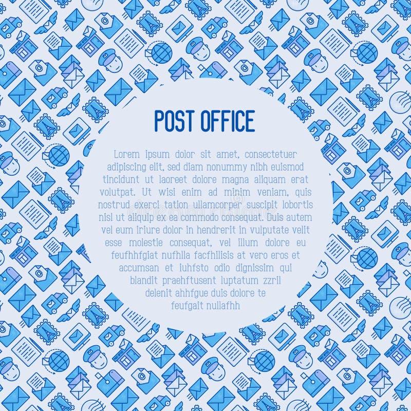 Urzędu pocztowego pojęcie z cienkimi kreskowymi ikonami royalty ilustracja