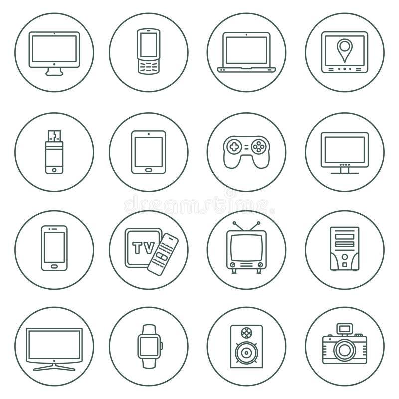 Urz?dzenie elektroniczne konturu ikony Technologia przyrządu ikony ustawiać royalty ilustracja