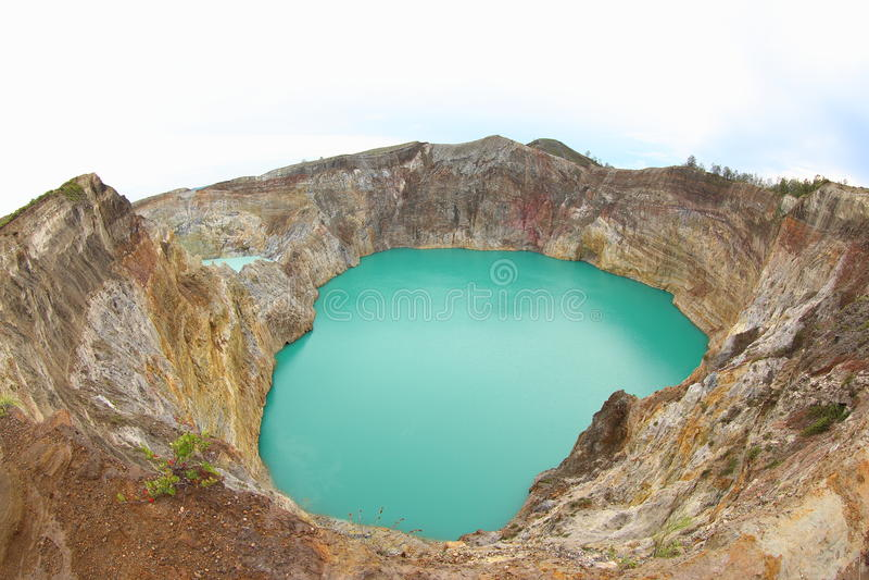 Urzeczony lub Zaczarowany jezioro, Kelimutu Krater jeziora zdjęcie royalty free